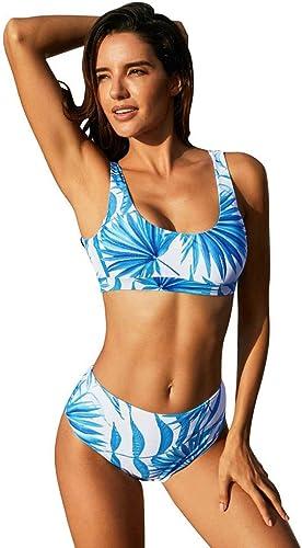 QIAO Bikini d'été pour Femme, imprimé Taille Haute Grande Taille Dos Ouvert Maillot de Bain à séchage Rapide (S - 2XL),B,XXL