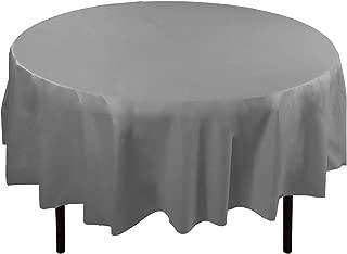 Exquisite 12-Pack Premium Plastic 84-Inch Round Tablecloth - Silver