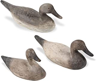 K&K Interiors 13964B Assorted 15 Inch Antique Grey and Cream Resin Duck Decoys (3 Styles)