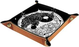 BestIdeas Panier de rangement carré 20,5 × 20,5 cm, avec motif Yin et Yang Tatouage Art Méditation Floral Roses, Boîte de ...
