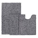 BYSURE Dark Grey Bathroom Rug Set 3 Piece Non Slip Extra Absorbent Shaggy Chenille Bathroom Rugs and...