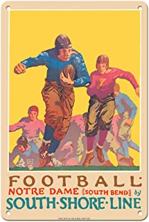 Pacifica Island Art Football - University of Notre Dame, Indiana - South Shore Line, South Bend Station - Vintage Railroad...