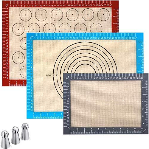 OhMyGoods ⭐ Lot de 3 Tapis de Cuisson en Silicone Réutilisable 40 x 30 cm, Résistant à la Chaleur, Anti-adhérent et sans BPA pour Pâtisserie et Pizza - Feuille de Cuisson - Tapis de Four + 3 Douilles