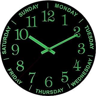 Petforu Day of Week Wall Clock Night Light Glow in the Dark 12 Inches