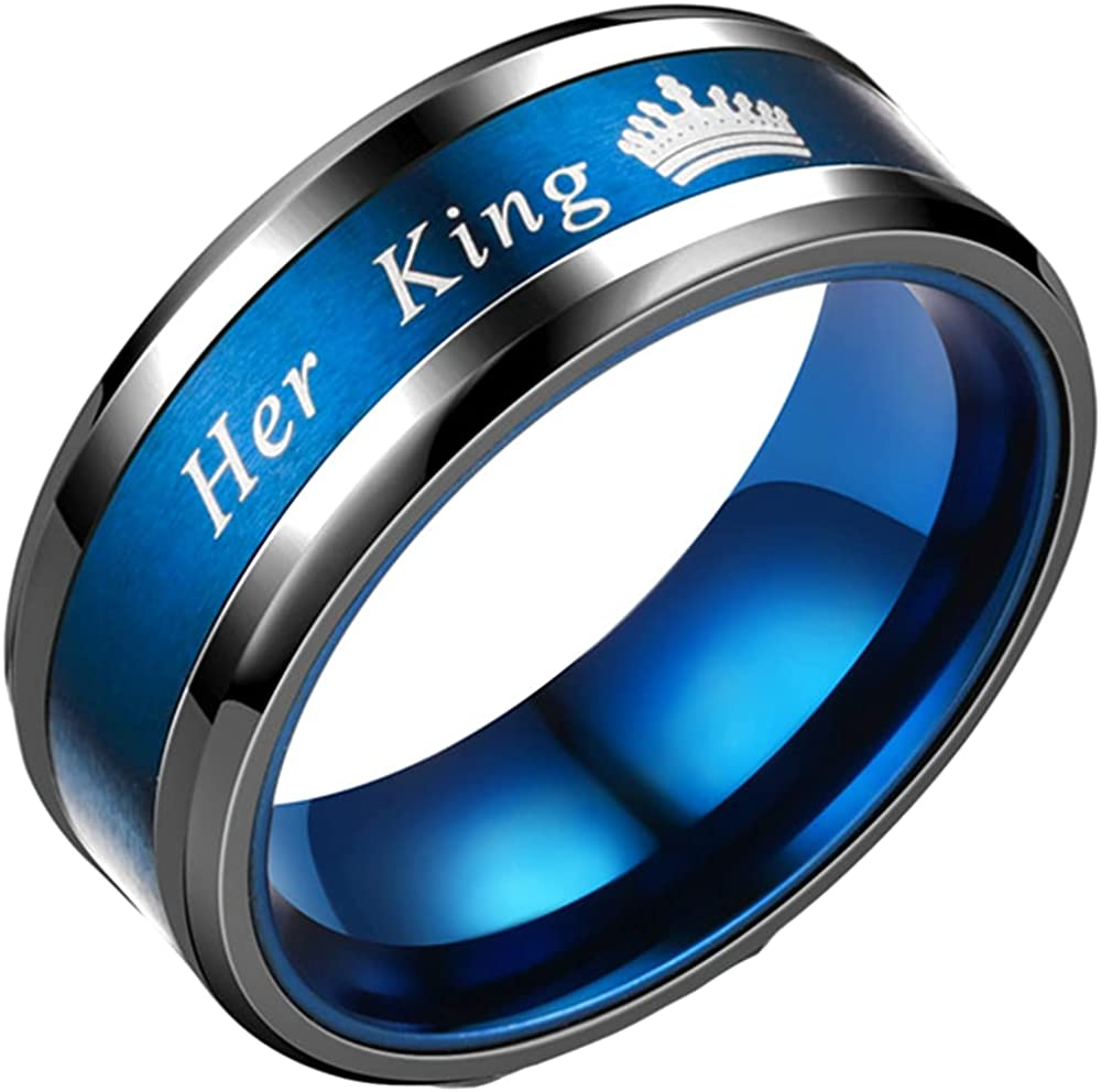Stainless Steel His Queen Her King Couple's Wedding Band Anniversary Promise Ring