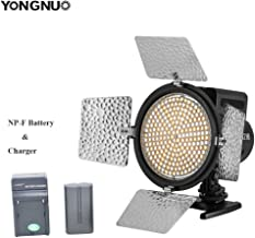 Yongnuo YN216 LED Video Light Continous Photo Panel with Adjustable Color Temperature 3200-5500K Barn Door and 4 Color Filters + NP-F Battery + Battery Charger for Studio Photography Canon Nikon Sony