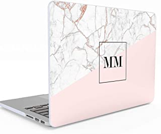 Personalised Rose Gold Pink Marble Initials Name Letters Custom Customizable Personal MacBook Pro 13 Inch Case with or Without Touch Bar Model: A1706 / A1708 /A1989 Release 2016-2018 Hard Case Cover