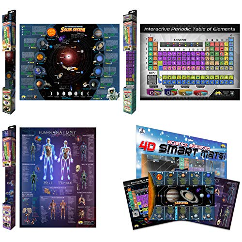 Interactive Durable Solar System Periodic Table of Elements Human Anatomy Charts and Mats for Kids Adults – Included Augmented Reality STEM Education Apps