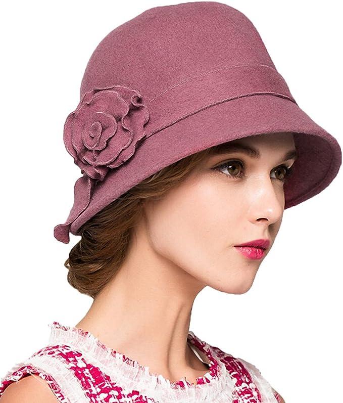 1920s Accessories: Feather Boas, Cigarette Holders, Flasks Maitose Womens Wool Felt Flowers Church Bowler Hats  AT vintagedancer.com