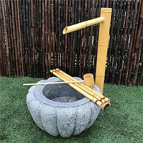 Heating Pads Fuente de Agua de bambú para jardín japonés, Dispositivos de Agua de bambú, Adornos, estatuas de decoración, Cascada al Aire Libre, para Estanque, Estanque, Patio,70cm