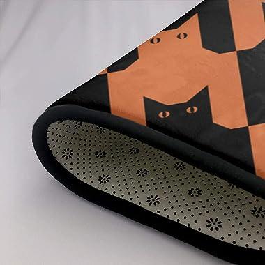 Cats Houndstooth Black Orange Animals Wildlife Illustrations Clip Art Doormat Personalized Indoor Floor Mats Living Room Bedr