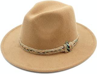 Fedora Cap Men Women Wool Fedora Hat Casual Wild Jazz Hat Panama Church Hat with Belt Dance Party Hat Size 56-58CM Felt hat (Color : Khaki, Size : 56-58)