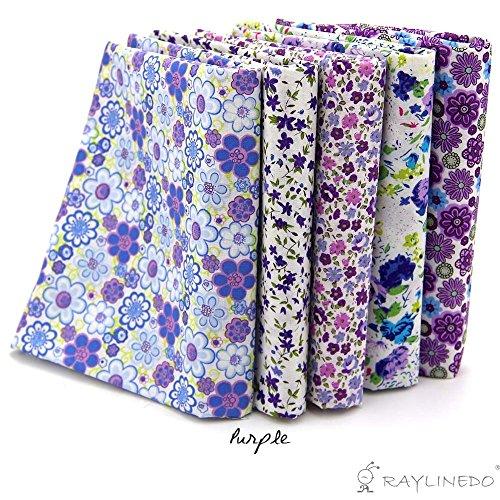 RayLineDo 5X Different Pattern Purple 100% Cotton Poplin Fabric Fat Quarter Bundle 46 x 56cm (Appox 18