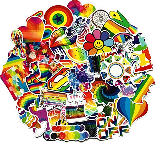 60PCS Water Bottle Stickers Gay Pride Stickers Bright Technicolor Rainbow Stickers Scooter Suitcase Phone Refrigerator Laptop Cup Motorcycle Car Bike Walls Bedroom Furniture Stickers(Gay Pride)