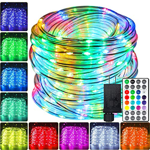 Led Outdoor Rope Lights 66ft, 200 LEDs 16 Colors Changing Rope Lights Waterproof - Multi Mode Rope Lights for Bedroom Christmas Starry Fairy Lights,...