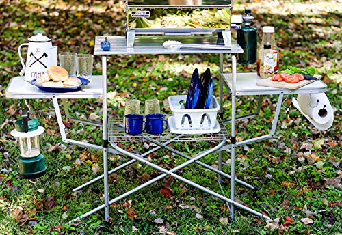 Product Image 1: Camco Deluxe Folding Grill Table, Great for Picnics, Tailgating, Camping, RVing and Backyards; Quick Set-up and Folds Down to Only 6 Inches Tall for Convenient Storage (57293)