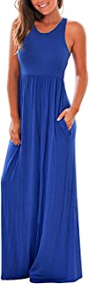 Women's High Waist Casual A-Line Pleated Belted Long Maxi Skirt Dress with Pocket(S-2XL)