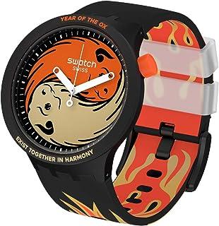 Swatch Quartz Silicone Strap, Black, 24 Casual Watch (Model: SO27Z109)