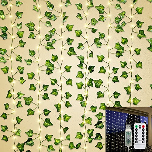 TURNMEON 12 Strands Artificial Ivy Garland with 240 Led Curtain Lights & 8 Modes Timer, Silk Ivy Leaf Vine Hanging Garland Fake Plants Vine Greenery Kitchen Home Garden Wedding Bedroom Wall Decor