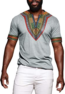 Makkrom Mens Dashiki African Tribal Floral V Neck Short Sleeve T Shirt Blouse Tops
