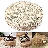 HINMAY Cojín de suelo japonés Tatami, almohadilla de asiento natural, cojín de paja tejido, puf redondo, cojín de yoga, tapete de punto para decoración de jardín y comedor