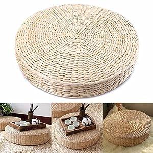 HINMAY almohada de suelo de tatami japonés, cojín de paja de tejido natural, cojín redondo para asiento de yoga o jardín, decoración de comedor