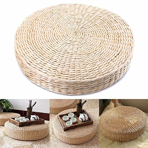 Tongdejing Japanese Tatami Floor Pillow, Woven Straw Seat Cushion Pad Round Yoga Floor Seat Pillow Cushions Breathable Meditation Pillow Mat