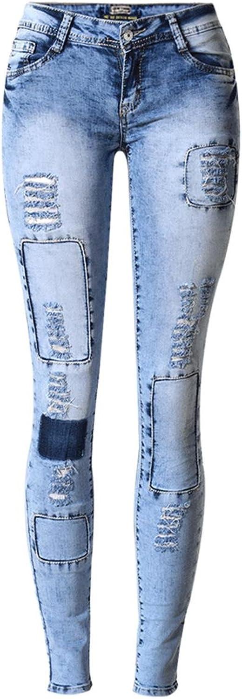 Byjia Women Jeans Denim Stretchy Disco Skinny Slim Pencil Trouser Zipper Pocket Popular Elastic Patch Leggings Pants