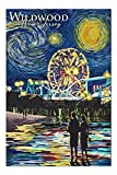Promini Wildwood, New Jersey - Shriver's - Wildwood Pier - Starry Night - 1000 Piece Jigsaw Puzzles for Adults Kids, Puzzles for Toddler Children Boys and Girls 20' x 30'