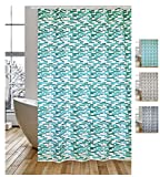 """MSV Cotexsa by Premium Anti-Schimmel Textil Duschvorhang - Anti-Bakteriell, waschbar, 100prozent wasserdicht, mit 12 Duschvorhangringen - Polyester, """"Loft"""" Türkis, Weiß 180x200cm – Made in Spain"""