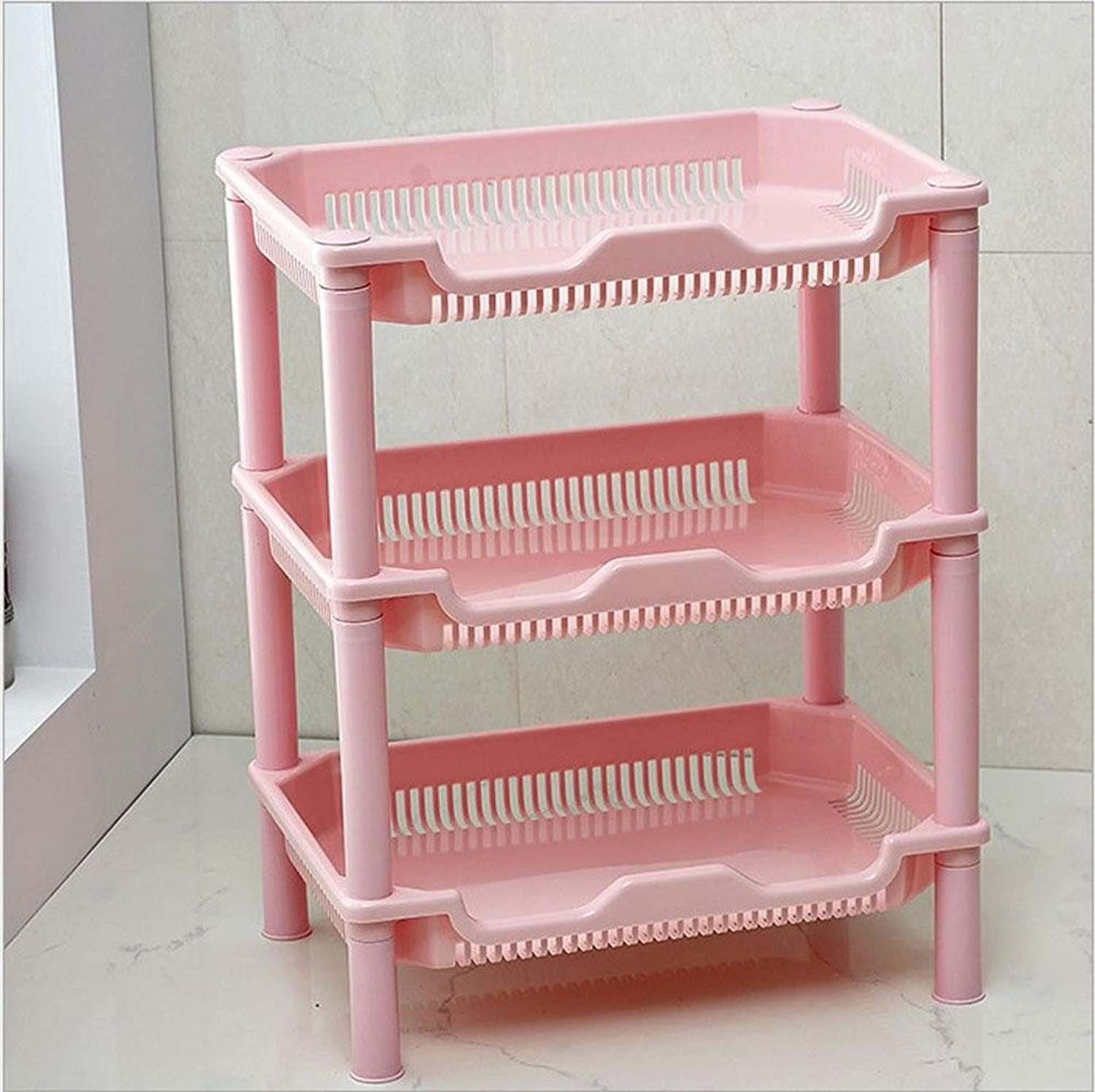 SSBY Fashion square bathroom shelf, literary stuff plastic storage rack, three tier shelf in the kitchen, three color optional , Pink