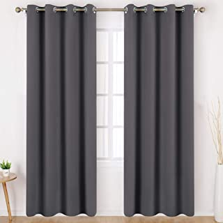 HOMEIDEAS Grey/Gray Blackout Curtains Wide 52 X 84 inches Long Set of 2 Panels Room Darkening Curtains/Drapes, Thermal Insulated Grommet Window Curtains for Bedroom & Living Room