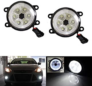 iJDMTOY Xenon White LED Fog Lights For Ford C-Max Explorer Fiesta Fusion Mustang Taurus Nissan Sentra Subaru Legacy Outback w/LED Halo Rings, Each Lamp Powered by 6 Pieces 3W LED Bulbs