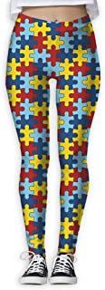 Autism Awareness Colorful Puzzle Piece Womens High Waist Yoga Leggings Pants Active Workout Stretch Trousers