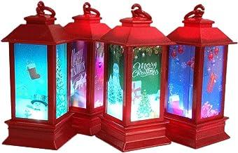 Amosfun 4Pcs Christmas Hanging Lantern Xmas Lantern Decoration Night Lantern Party Night Lamps for Home