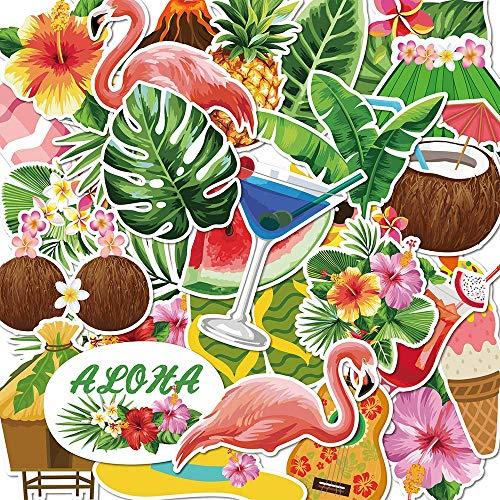 50pz Adesivi per Spiaggia Tropicale Hawaiana, Adesivi per finestre, Impermeabili, Resistenti | Adesivi murali per vetrate estive per Decorazioni per la casa della Scuola Materna