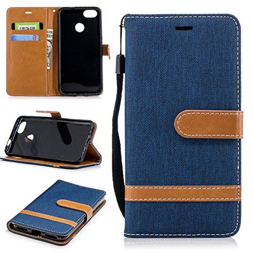ZIBF030843 - Funda tipo cartera para Huawei Y6 Pro 2017 / P9 Lite, piel sintética, con función atril, con tarjetero y ranuras para tarjetas, color azul marino