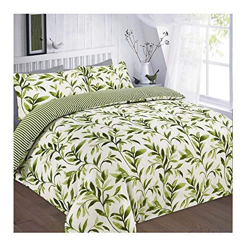 Leaf Duvet Cover Set with Pillowcases Super King Size Polycotton Floral, Ellie Green
