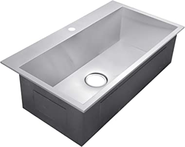 "Golden Vantage 32"" x 18"" x 9"" Handmade Top Mount Single Bowl Drop-In 18 Gauge Stainless Steel Kitchen Sink"