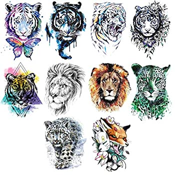Ooopsiun 10 Sheets Large Tiger Temporary Tattoos For Men Kids Cool Waterproof Body Fake Lion Tattoo Sticker for Men Women 3D Animals Large Arm Tattoos
