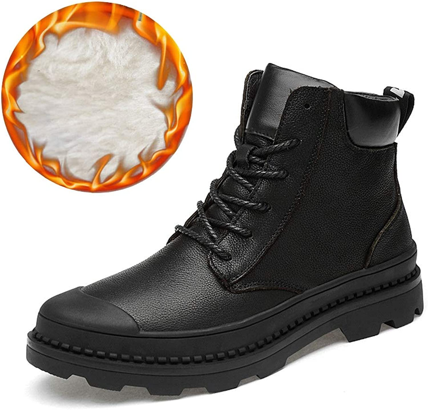 XHD- Classic shoes Men's Simple Fashion Ankle Boots Casual top Lacing Waterproof Outdoor Boots(Warm Velvet Optional)