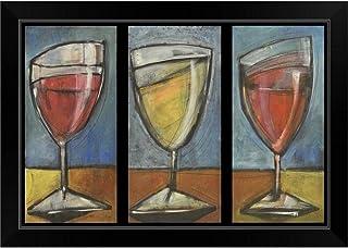 "Sponsored Ad - CANVAS ON DEMAND Wine Trio Triptych Black Framed Art Print, 27""x19""x1"""