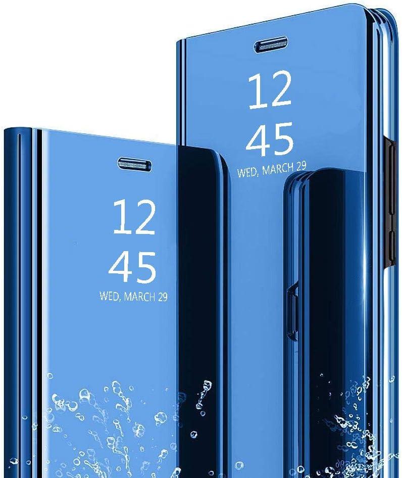 2.0 Version Mise /à Jour Clear View Etui /à Rabat Cover Flip Case Miroir Antichoc T/él/éphone Portable Cover Argent/é Ptny Flip Cuir Coque Housse Compatible Oppo A5 2020// A11 /Étui,