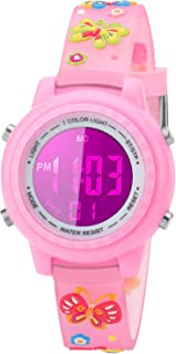 Kids Watch for Boys Girls Butterfly 3D Cute Cartoon Toddler Watch Digital Silicone Band Alarm Stopwatch Digital Child Wristwatch 50M Waterproof Pink