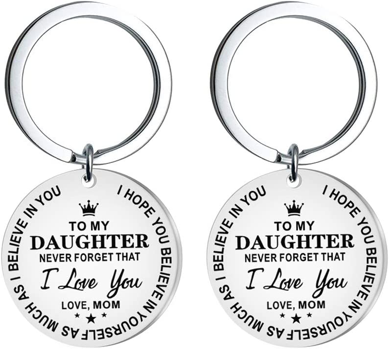 PRETYZOOM Birthday Gift Keychains Letter to My Daughter Printing Key Holder Round Pendant Stainless Steel Key Rings Craft Ornaments Keyring Gifts