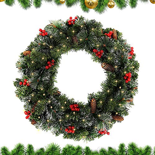XIAOWEI 60CM Christmas Garland Decorations Pre-lit Decorated Garland with Lights Red Berry Decorations Rattan Artificial Wreath for Christmas Festival Tree Display Indoor Outdoor Christmas Decorati