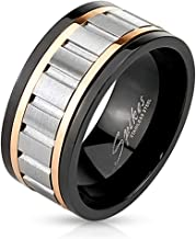 Inspiration Dezigns Tri Toned Stainless Steel Spinner Ring with Grooved Center