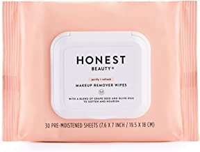 Honest Beauty Makeup Remover Wipes with Grape Seed & Olive Oils | Paraben Free, Synthetic Fragrance Free, Dermatologist Tested, Cruelty Free | 30 Count