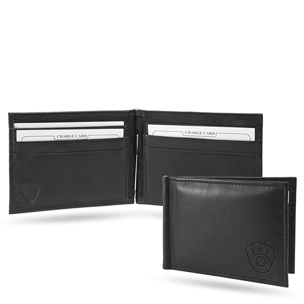 Milwaukee Brewers RFID Blocking Shield Black Leather Moneyclip Wallet