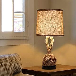 Lámpara de mesa náutica de la cuerda del embarcadero con la base industrial del hierro y de la cuerda del metal, sombra de la tela del tambor, luz de la tabla para el dormitorio